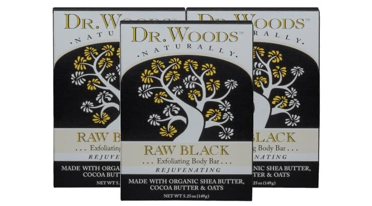 Dr. Wood's Raw Black Body Bar is a gentle exfoliating soap that can help remove dead skin from the surface.