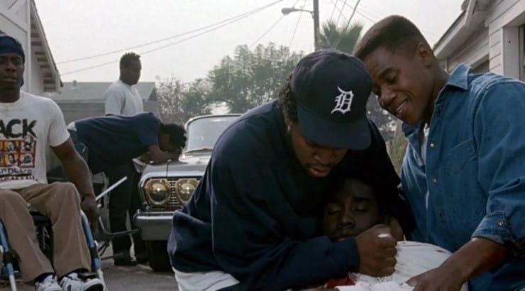 Ice Cube, Cuba Gooding Jr., and Morris Chestnut star in the John Singleton film Boyz 'n the Hood.