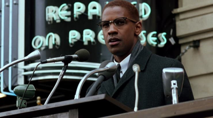 Denzel Washington appears in the biopic of Malcolm X based on his autobiography.