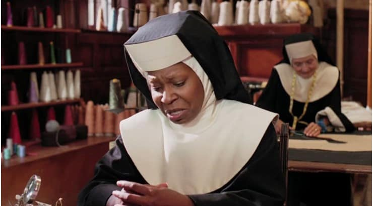 Sister Act stars Whoopi Goldberg as a lounge singer who goes into Witness Protection as a nun.