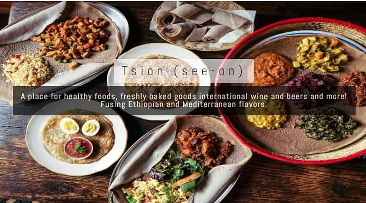 Tsion Cafe is an Ethiopian restaurant that has infusion dishes from other African and Mediterranean countries.
