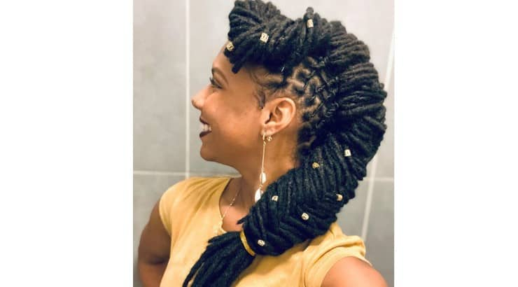 Dreadlocks are more versatile than most people think, having the ability to be styled into different style braids.