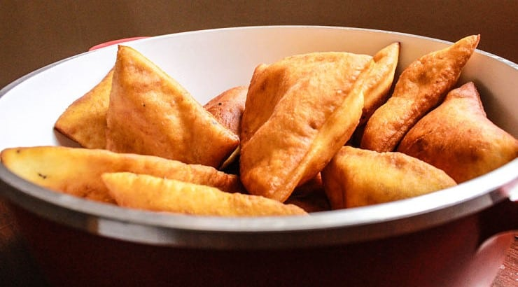 Mandazi is a slightly sweet pastry that is similar to American donuts.