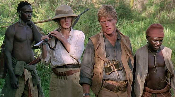Out of Africa stars Meryl Streep as a woman who moves to the continent and opens a coffee plantation.