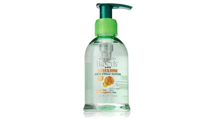 The Garnier Fructis Sleek & Shine Serum helps smooth hair while protecting it from humidity and frizziness.