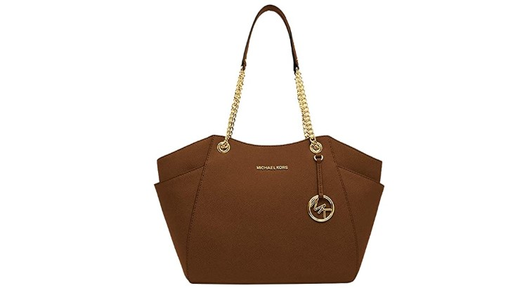 The Michael Kors Large Shoulder Tote features leather and chain straps for a mix of classic edginess.