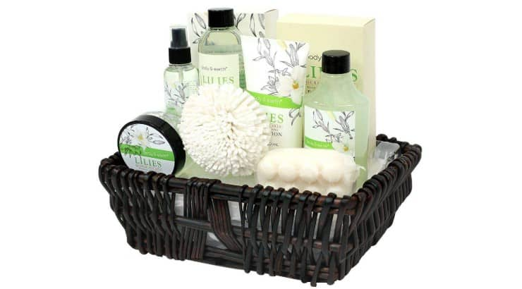 The Bath and Earth 10-Piece Spa Set includes bubble bath, bath salts, and body lotion.