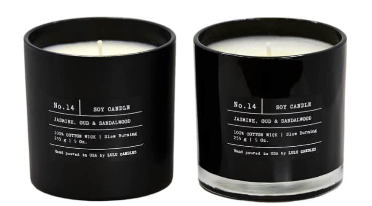 Lulu Candles are scented with jasmine, oud, and sandalwood for an at-home, cozy scent.
