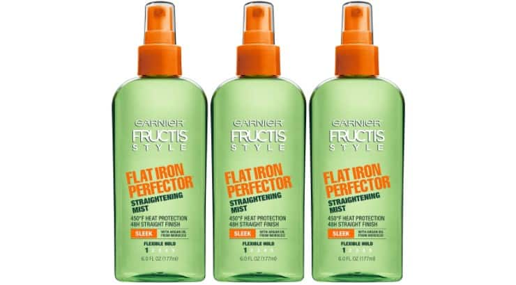 The Garnier Fructis Straightening Mist provides heat protection and also helps tame frizz and seal in moisture.