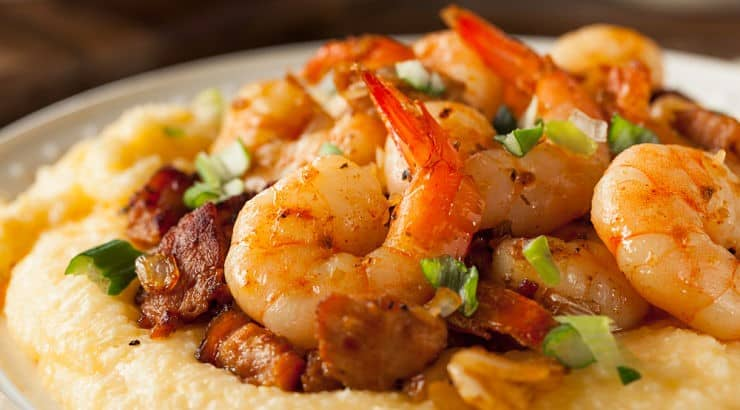 Grits are commonly served with cheese, eggs, bacon, and shrimp.