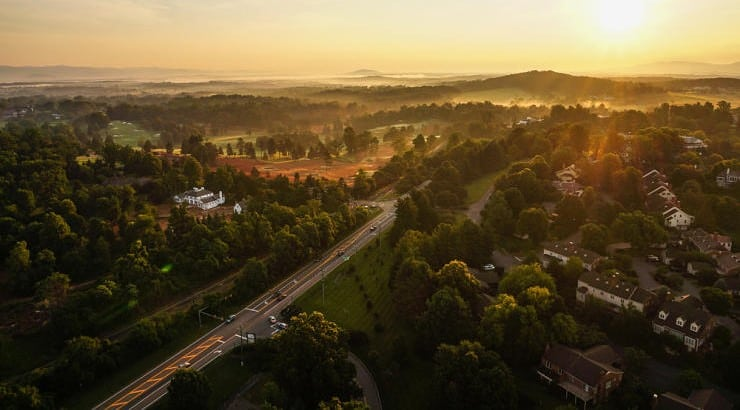 Charlottesville, Virginia, while quiet in many parts, is also known for its fine restaurants, shops, and vineyards.
