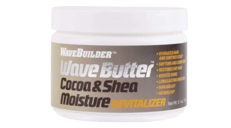 The WaveBuilder Cocoa and Shea Wave Butter moisturizes the hair and keeps it from looking dull.