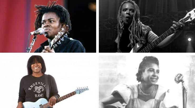 Sister Rosetta Tharpe, Tracy Chapman, and Divinity Roxx are Black female guitarists who have and continue to lead the way for future musicians.