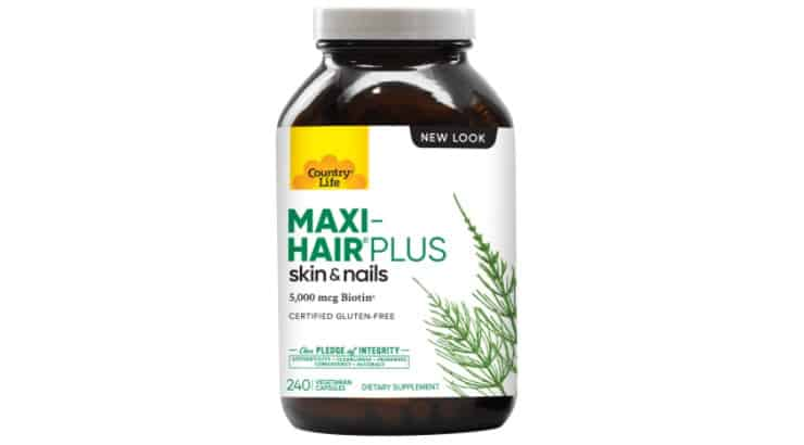The Country Life Maxi-Hair supplement is packed with Vitamins A, C, E, and B Vitamins.