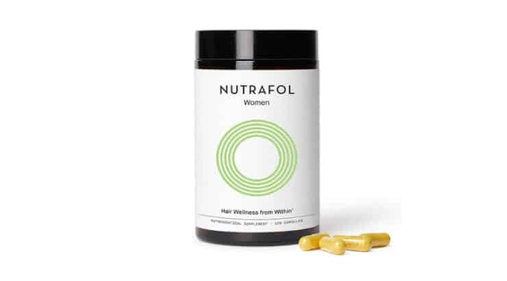 The Nutrafol Women Hair Wellness From Within Supplement contains Vitamins A, C, and D as well as biotin, iodine, and zinc.