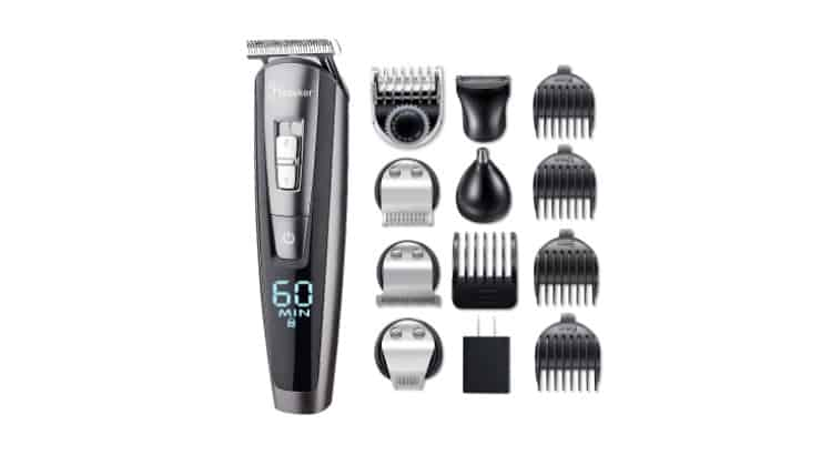 The Hatteker Cordless Hair Trimmer comes with capabilities for head, face, nose, and chest.