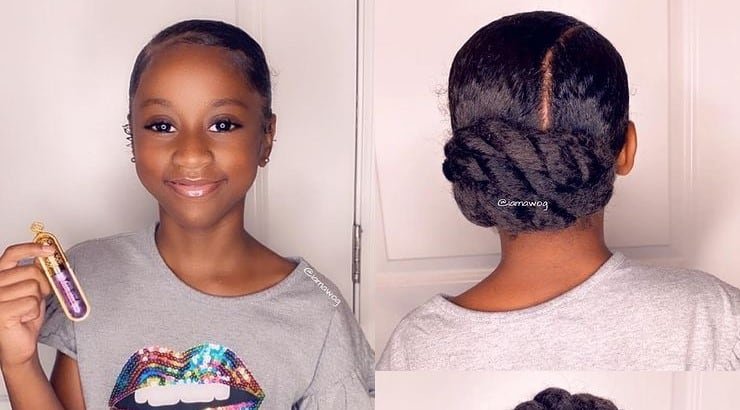 Creating a chignon for a little Black girl is a great way to achieve a classic, elegant look at a young age.