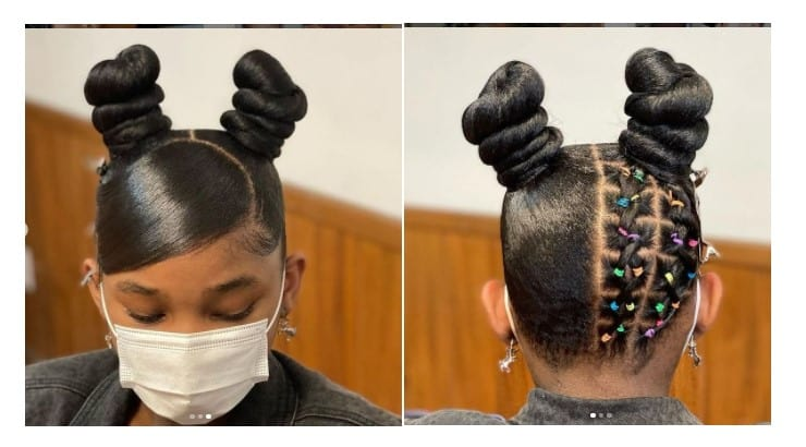Rubber bands are a popular accessory that are added to Black girl's hair.